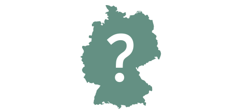 Map of Germany with question mark